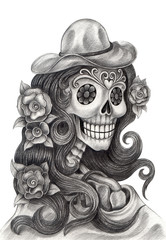Women Skull art day of the dead.Art design skull head action smiley face day of the dead festival hand pencil drawing on paper.