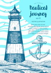 Nautical vector illustration drawn in ink. Lighthouse in the ocean. Sea design template.