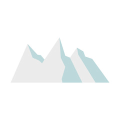 Snowy mountains icon in flat style on a white background