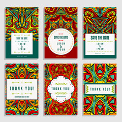 Six Greeting Cards Templates With Bright Ethnic Ornament