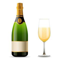 Шампанское, реалистичная бутылка шампанского и бокал шампанского, праздник праздновать