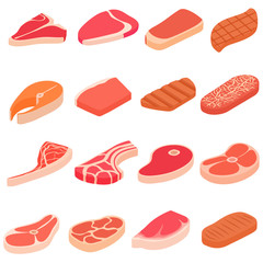 Steak icons set in cartoon style. Meat set collection vector illustration
