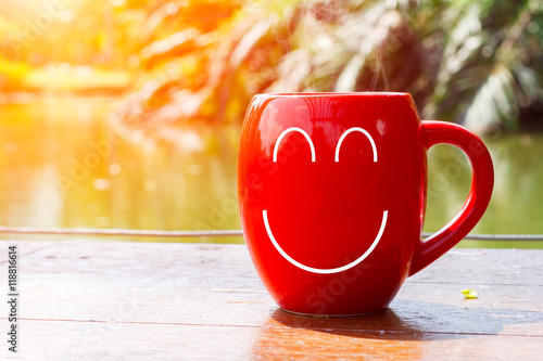 Red Coffee Cup Empty Front Porch The Morning Good Morning Or Have A