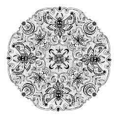 Nature Details In Black And White Mandala