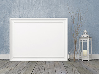 Horizontal interior poster mockup with white frame, lantern and twigs on empty wall background. 3D rendering.