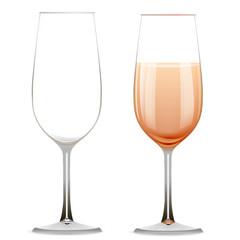 Пустой реалистичный стеклянный бокал и бокал шампанского изолированный на белом фоне