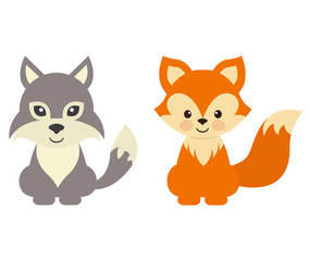 cartoon wolf and fox