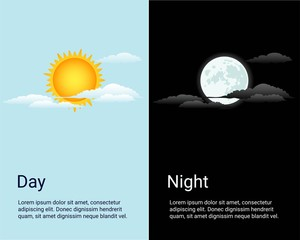 Vector day and night. Background with sun, moon, sky icons