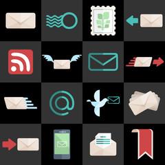 Postal Web Flat Design Icons