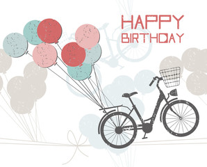 Birthday greeting card with balloons and bicycle