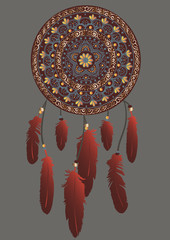 Hand-drawn mandala with dreamcatcher with feathers in brown, gold, gray and red colors. Ethnic illustration, tribal