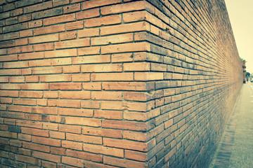Vintage brick wall architecture, Gate in Thailand