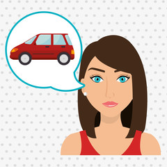 woman car vehicle transport vector illustration design