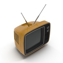 Old TV on white 3D Illustration