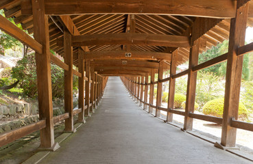 Covered corridor of Kibitsu Shinto Shrine in Okayama, Japan