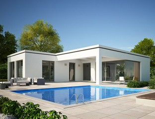 Bungalow Flachdach mit Pool am Tag