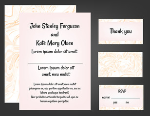 Pink wedding invitation set
