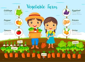 Vegetable garden farm, farmers Harvest on farm, cartoon characters vector design, info graphic..