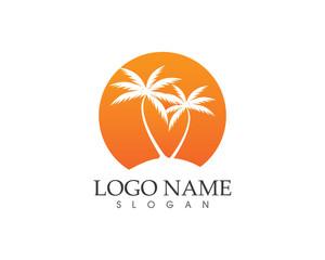 Palm tree sunset logo