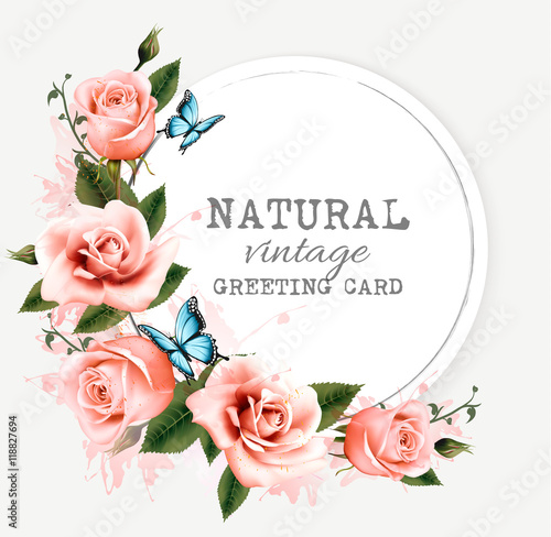 Natural vintage greeting card with roses vector stock image and natural vintage greeting card with roses vector m4hsunfo