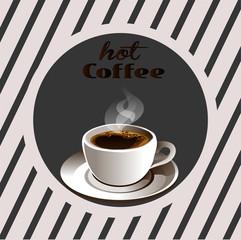 Плакат кофе, чашка реалистичного кофе