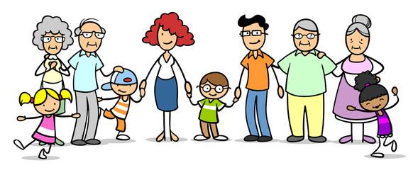 Patchworkfamilie mit Großeltern und Kindern