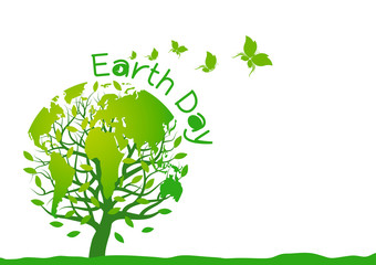 Earth day design on white background
