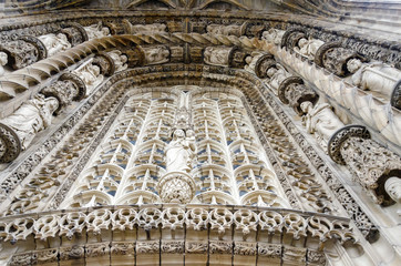 Albi Cathedral, facade details, Tarn, France. Unesco Site