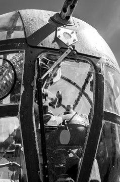 B25 Bomber - Close Up - Black and White