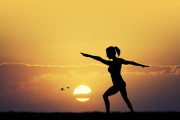 body balance at sunset