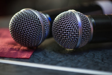 Closeup of audio microphones