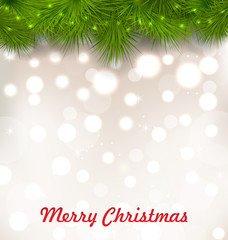 Christmas Illuminated Background with Realistic Fir Twig