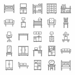 Furniture, icons, monochrome, outline. Vector contour icons for furniture. Gray image on a white background.