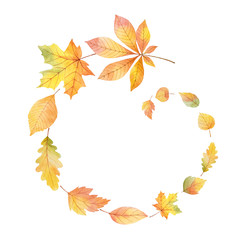Watercolor round frame with colored leaves on a white background.