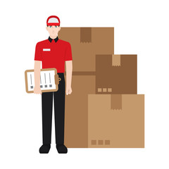 Delivery boy/ man vector illustration. Delivery courier checking the packages, character isolated on white background.