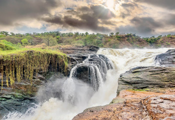 View of Murchison Falls on the Victoria Nile river National Park