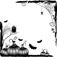 Holiday card on theme of Halloween. Black corner frames with grey pumpkins, bats and spiders on webs at cemetery on white background. Trick or treat. Raster illustration