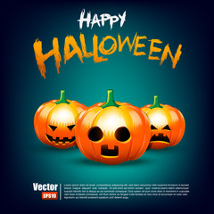 Happy halloween calligraphy and pumkin on dark background vector