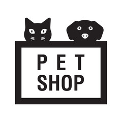 pet shop black logotype with head of cat and dog. Logo icon design template. Abstract concept for pet shop or veterinary.