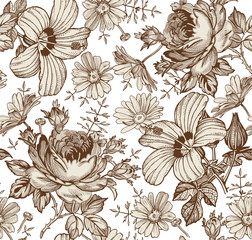 Seamless pattern. Beautiful brown blooming realistic isolated flowers. Vintage background. Chamomile Rose hibiscus mallow wildflowers. Wallpaper. Drawing engraving. Vector victorian Illustration.