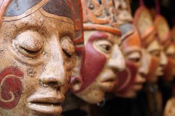 Guatemala,Mayan clay masks at the market