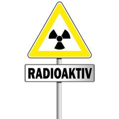 Atom Zeichen Schild mit Hinweisschild Radioaktiv