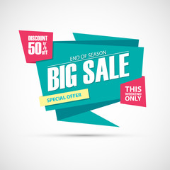 Big Sale, this weekend special offer banner, 50% off. End of season. Vector illustration.