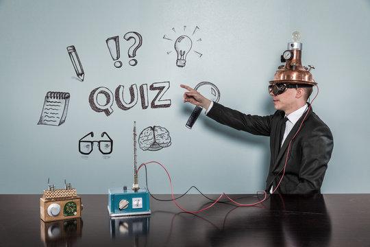 Quiz concept with vintage businessman