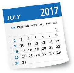 July 2017 calendar leaf - Illustration