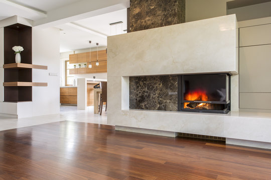 Warmth and luxury of an elegant fireplace
