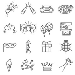 Party icons set. Celebration collection. Thin line design