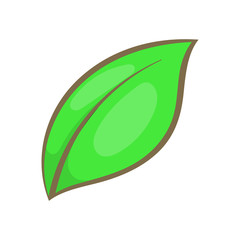 Green leaf icon in cartoon style isolated on white background. Plant symbol