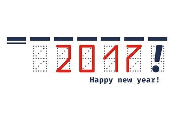 Happy new year 2017 paper / text. Vector illustration.
