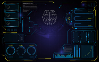 abstract brain HUD interface UI design technology telecommunication innovation concept template background